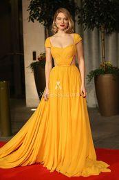 Wholesale Satin Bright Orange Short Dresses - LEA SEYDOUX BRIGHT YELLOW PLEATED PROM DRESS TONY AWARDS 2016 Cannes Sweetheart Short Sleeve Ruffled Celebrity Evening Formal Gowns