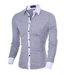 Free Shipping 2017 Autumn New Men's Casual Slim Collision Color Collar Long-sleeved Shirt