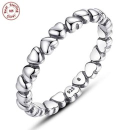 Wholesale Authentic 925 Sterling Silver Rings Stacking Heart Band Ring For Woman Luxury Pandora Ring Style Jewelry Gift P108
