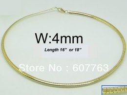 "4MM Width 316L Stainless Steel 18K Gold Plated Plating Choker Chain Necklace 16"",18"" Inches or 40CM,45CM Length Available"