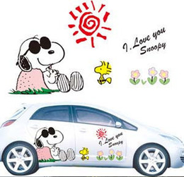 Wholesale Set Anime charactor snoopy Full Color Graphics Adhesive Vinyl Sticker Fit any Car Sides