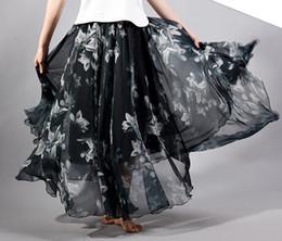 Wholesale Long Skirt Women s Clothing Woman Address Skirts Fashion Chiffon Printing cms Long A style Skirt Layers chiffon fabric