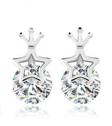 2016 Newest Gold Earring 9mm*5mm 925 Sterling Silver Crystal Diamond Star of David Stud Earrings for Women Superstar Nouveaute Small