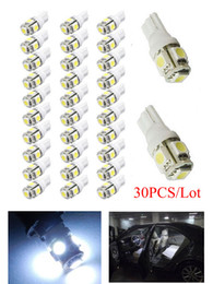 30Pcs Super White T10 Wedge 5-SMD 5050 LED Side Tail Plate Brake Parking Light bulbs W5W 2825 158 192 168 194