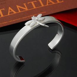 Factory direct wholesale 925 Sterling Silver Bangle Bracelet Dragonfly fashion silver bracelet Jewelry bracelets for women