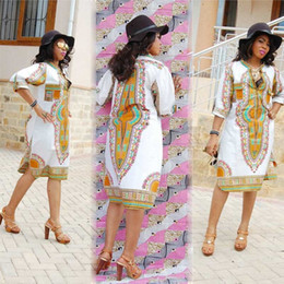 S-3XL Women Summer T shirt Dress 2016 Traditional African Dashiki Print Party Dresses Plus Size Sexy Deep V-Neck Ladies Dress Robe Clothing