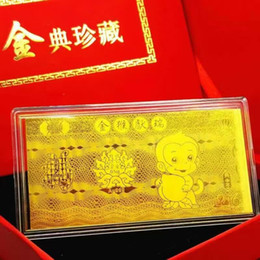 investment collection 0.5g grams Year of the Monkey 3D Hard Au 999 gold 24k gold foil mini Bullion gold bar for gift for New Year