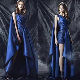 Royal Blue Evening Dresses V Neck 2016 Satin Lace Appliques Beading Sequins A Line Side Slit Floor Length Long Evening Gowns