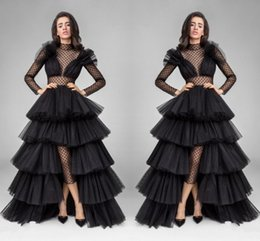 High Neck Black See Through Prom Dresses With Illusion Long Sleeves Layers Tiered Tulle A Line Organza Skirt Evening Gowns Formal Wear