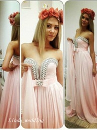 Free Shipping Pink Colour A-Line Princess Sleeveless Chiffon Beading Sweetheart Sweep Brush Train Dresses Evening Dress