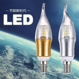 Wholesale 9 tile factory direct light bulb energy saving lamp W candle bulb pull tail glass cover led candle lamp aluminum parts