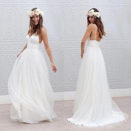Sexy Simple Summer Beach Wedding Dresses 2017 Lace Vintage A Line V-Neck Spaghetti Backless Bohemian Boho Bridal Gowns BA2144