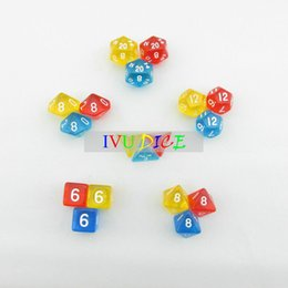 Wholesale 18pcs DND Table BOARD GAME Dungeons Dragons number dice Color Transparent RED YELLOW BLUE Party Children dices WITH BAG IVU