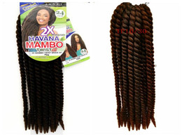 Wholesale Free shipping Havana Mambo Twist Braids 2X Senegalese Brown Black Blue Purple Ombre Wine Red Synthetic Crochet Braiding Hair