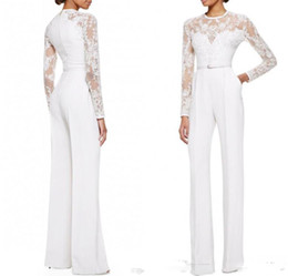 Wholesale 2016 White Elie Saab Mother Of The Bride Pant Suits Jumpsuit With Long Sleeves Lace Embellished Women Formal Evening Wear Custom Made
