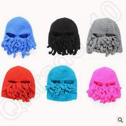 Wholesale Novelty Handmade Knitting Wool Funny Beard Octopus Hats Caps Crochet Knight Beanies Ski Face Mask Knitted Hat Halloween Gift CCA5111