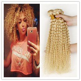 Grade 9A Russian Blonde Human Hair Curly Bundles #613 Platinum Bleach Blonde Deep Curly Russian Human Hair Weaves Double Wefts 3Pcs Lot