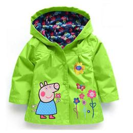 Wholesale 2016 Kids Autumn Winter Girls Coats Jackets Flower Cartoon Print Rain Coat Hooded Jacket Children s Outwear Waterproof Coat Candy Colored