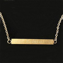 Wholesale 2016 New Silver Gold Plated Love Bar Necklace Charm Jewellry Stainless Steel Chain Necklace Pendant Wedding Bride Gift N00125