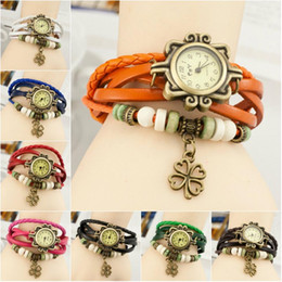 Best Retro Fashion Wristwatch Cheap Europe Wrapped Bracelet Watch Ms Clover Charm Student Vintage White Red Green Blue Black Orange