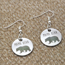 Wholesale Mama bear charm earrings silver tone Mother s day gift