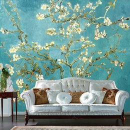 Wholesale Custom Mural Wallpaper European Nonwoven Sofa TV Backdrop Wallpaper Van Gogh Almond Oil Painting Bedroom Self adhesive Wallpaper