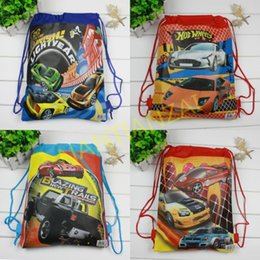 Wholesale New pack Hot wheels Backpack bags Non woven student bags School bag Kids party gift Lovely cartoon waterproof beach bag
