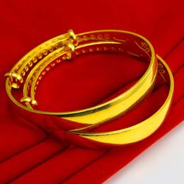Gold bracelet female smooth push pull adjustment contraction 999 gold wedding jewelry gold bracelet simulation