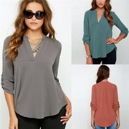 Wholesale Loose V Neck Women Tops XL Fold Long Sleeve Fashion Casual Ladies Shirts Blouse Tops with Chiffon Material for Women TM2009