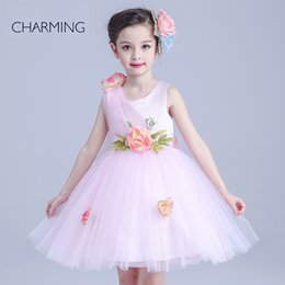 Wholesale pink princess flower girl dresses buy products Girls pageant dresses china websites girls dresses sale