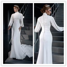 Modest Mermaid Muslim Wedding Dresses 2016 Long Sleeves High Neck Lace Chiffon Plus Size Bridal Gowns Cheap