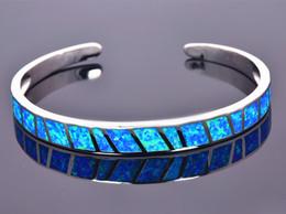 Wholesale & Retail Fashion Fine Blue Fire Opal Bangles 925 Silver Plated Jewelry For Women _DSC305