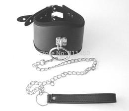 Adult Sex Bondage Strict Posture Collar 3 Inch Wide with Chain Leash Set Restraint Harness Fetish Slave Training