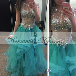 2016 Luxury Hunter Major Beading Prom Dresses Jewel Short Sleeves Illusion Bodice Sequined Tulle Tiered Skirt Graduation Gowns