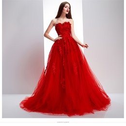 Sweep Train Red Appliques Designer Wedding Dress A-line Sweetheart Exquisite Bridal Gown Corset Back 2017 Attractive Dress Wedding