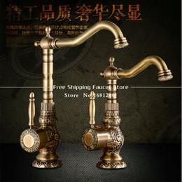 Wholesale Degree swivel faucets art carve antique bronze bathroom tap antique pool faucet Kitchen antique faucet HJ