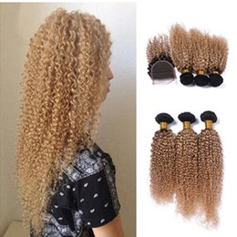 New Arrival Kinky Curly Hair Bundles With Lace Closure Free Part Ombre #1B 27 2 Tone Color Hair Weaves With Closure 4Pcs Lot