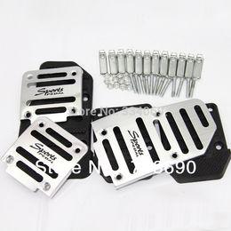 Wholesale car visa Universal Aluminum Manual Transmission Pieces Silver and black Non Slip Car Pedal Cover Set kit
