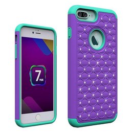 iphone samsung case Bling Diamond Crystal Rhinestone Hybrid Soft Silicone Rubber Gel hard PC Plastic Case