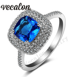 Vecalon 2016 Cushion Cut 3ct Aquamarine Simulated diamond Cz 925 Sterling Silver Engagement wedding Band ring for women Sz 5-11