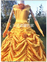 Wholesale Good quality Beauty And The Beast Belle et la Bete Belle Dress Cosplay Costumes yellow Dresses