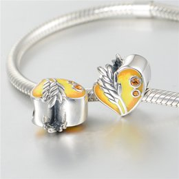 Wholesale GW Harvest Heart Charms beads made from sterling silver fit pandora style bracelets for women real jewelry No70 lw D164