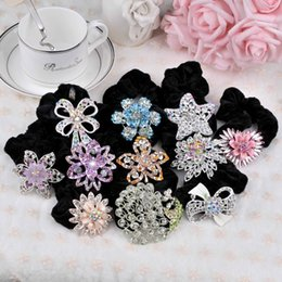 Wholesale 2016 New Fashion Hair Jewelry Rhinestone Black Hair Pony Tails Holder Beautiful Hair Clips