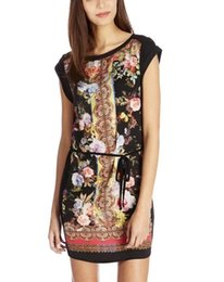 Wholesale Fashion Vintage Bohemian National Style Bloom Rose Printed Bodycon Short Sleeve O neck Slim Mini Beach Dress