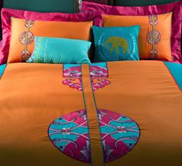 estilo bohimian bordado pcs juegos de cama americana algodn de la boda textiles para el hogar coleccin de hogar de alta calidad reina tamao king