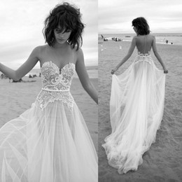 Vintage 2016 Beach Wedding Dresses Backless Sheer Neck Sexy Lace Applique Bride Gowns Sleeveless Sweep Train Tulle A Line Wedding Dress