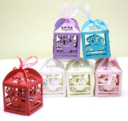 Wholesale 100pcs Laser Cut Hollow Float Candy Box Chocolates Boxes With Ribbon For Wedding Party Baby Shower Favor Gift