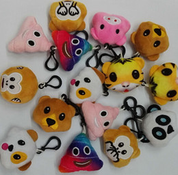 Wholesale 22 style cm inch Monkey love Pig pooh dog panda Emoji plush Keychain emoji Stuffed Plush Doll Toy keyring for Mobile Pendant