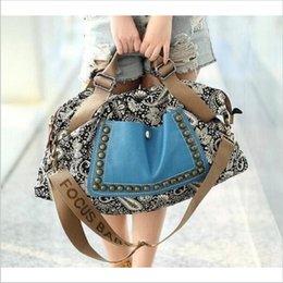 Toile grand sac à main à vendre-messager sacs bolsa feminina femme grande toile sacs crossbody occasionnel pour le paquet de femmes de sacs à main sac à bandoulière rivet femelle 95027