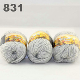 colorful hand-knitted wool line segment dyed coarse lines fancy knitting hats scarves thick line Silver Grey 522-831